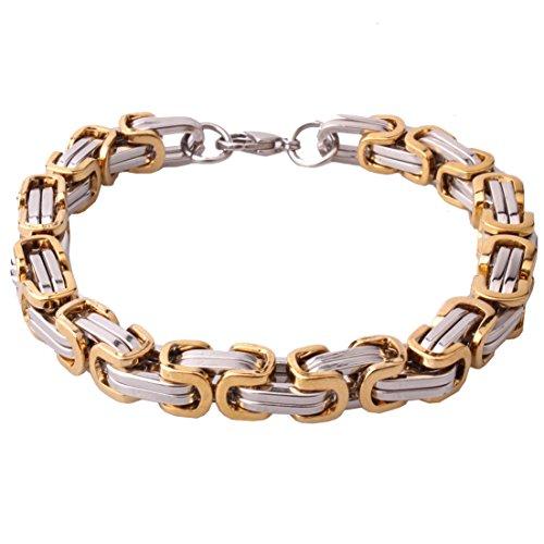 Fashion 4/6/8mm Hombres Cadena de acero inoxidable bizantina Enlace Collar Pulsera Niños Plata Oro Tone