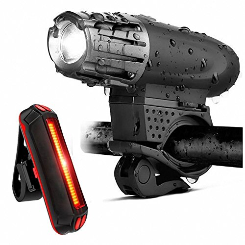 Naturra Bike Lights Bicycle Lights Front and Back USB Rechargeable Bike Light Set Super Bright Front and Rear Flashlight LED Headlight Taillight -proof Easy To Install