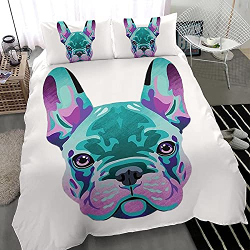 Frenchie Dog Personalized Name 3 Pieces Duvet Cover Bedding Sets Printed Comforter Bed Sheets Set with 2 Pillow Cases Shams Zipper Closure 3D Lightweight Duvet Cover Bedding Set - Full/Queen/King