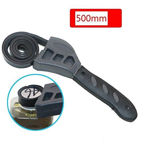 Multi-Tool Universal-Schraubenschlüssel, 500mm verstellbare schwarze Gummibandschlüssel-Schraubenschlüssel-Einmachdeckel anziehen lockern Sanitärwerkzeug Ölfilter-Spanner-Entfernungswerkzeug