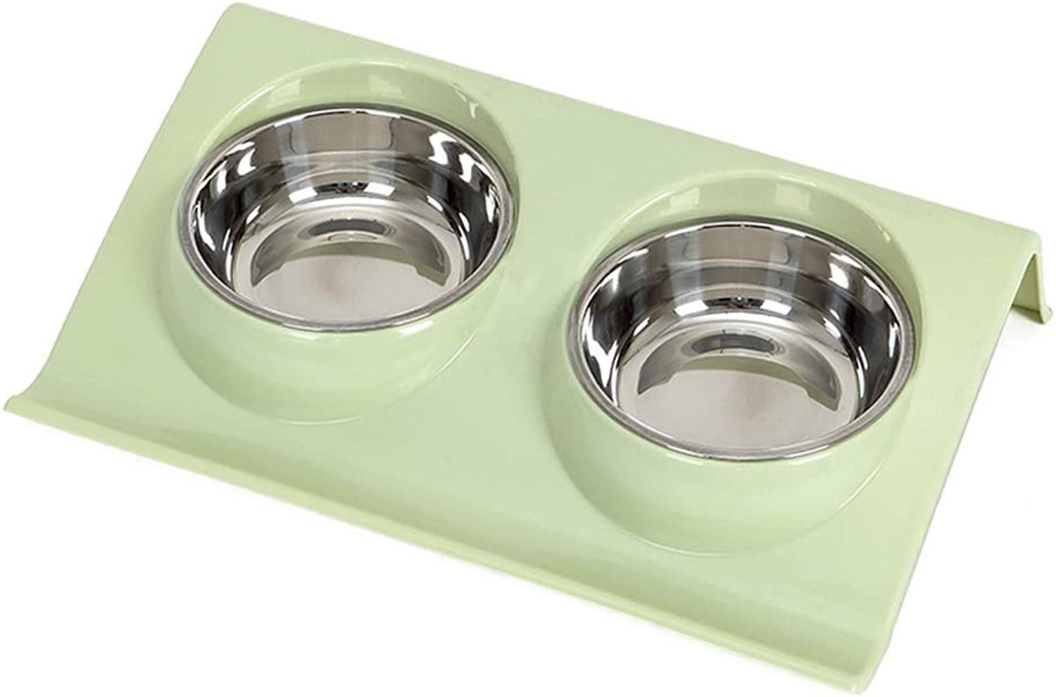 KTYX Dog Bowl Cat Bowl Stainless Steel Double Bowl Pet Bowl (Three colors Optional) Pet Bowl (color   Green, Size   S)