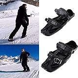 YUY Botas De Esquí, Mini Patines De Snowboard Ajustables Portátiles para Hombres Y Mujeres, Adecuados para El Entretenimiento Invernal,Black