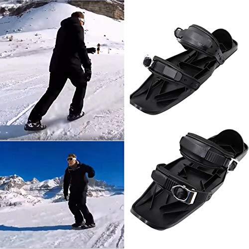 YUY Skischuhe, Tragbare Mini-Snowboard-Skates Für Damen Und Herren, Geeignet Für Winterunterhaltung,Black