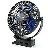 Gazeled 10000mAh Rechargeable Clip on Fan, 8 Inch Usb Clip Fan, Battery Operated Fan, 4 Speeds Portable Fan USB Fan for Baby Stroller Office Golf Cart Car Gym Treadmill, 2 in 1 Desk Fan Clip Fan
