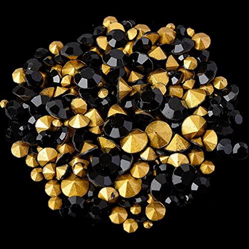 ss2-ss22 mezcla de tamaños piedra de vidrio redonda puntiagudo cristal Rhinestone decoración de uñas collar pendiente broche reparación joyería-negro, 6 gramos por bolsa