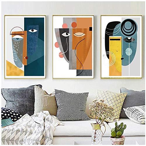 Kunst Behang Fotolijst Abstract Vintage Figuur Geometrische Posters en Prints Foto's voor Woonkamer Huis Interieur / 50x70cmx3pcs geen frame