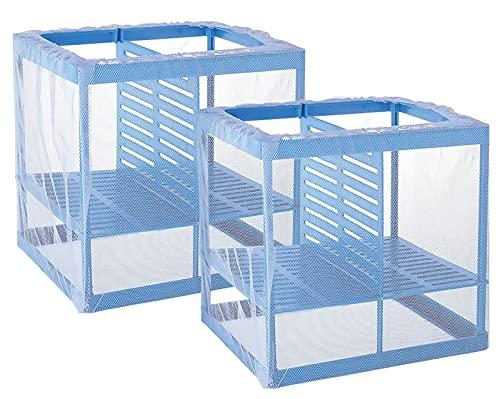 ASFINS Aquarium Fish Fokker Doos 2 Stuks Fokken Netto Voor Fish Tank Fish Fry Broederij Transparante Plastic Drijvende Vis Incubator Tank Divider Met Zuignappen (16.5X15x15cm)