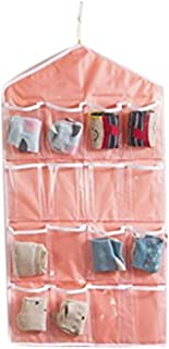 Wicemoon Bolsa de Pared Con 16 Bolsillos Para Calcetines Sujetador de Ropa Interior Bolsa de Almacenamiento En Rack Rosa 35cm*81cm