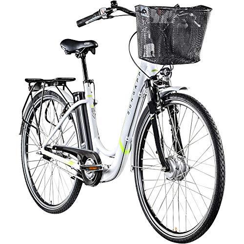Zündapp Z517 700c E-Bike - Bicicleta eléctrica para mujer (28 pulgadas, color blanco/verde, 48 cm)