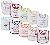 Hudson Baby Unisex Baby Cotton Terry Drooler Bibs with Fiber Filling, Neutral Holiday, One Size