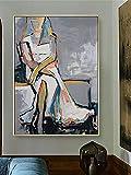VCFHU Figuras Arte Cuadro en Lienzo Figuras de Arte Mural Abstracto Pinturas al óleo Cuadros Minimalistas Impresiones Sala de Estar Decoración de la Pared del hogar Imágenes 60x90cm Sin Marco