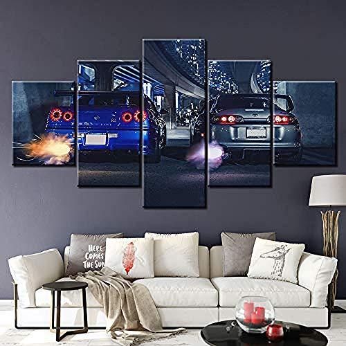 CANVANUK Leinwand malerei 5 Panel HD Print Große Skyline GTR VS Supra Auto Moderne Dekorative auf Wandkunst für Wohnkultur Wanddekor 5 stücke Leinwandmalerei, kein Holzrahmen Rahmenlos