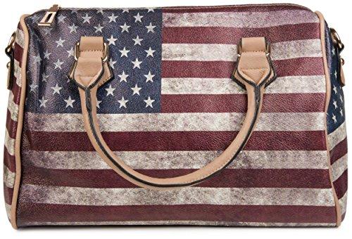 styleBREAKER USA Vintage Handtasche im Stars & Stripes Design, Bowling Tasche, Henkeltasche, Damen 02012014, Farbe:Hellbraun/Modell-3