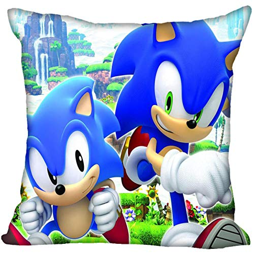 Schallkissen 2021 New Sonic The Hedgehog Kissenbezug Schlafzimmer Home Office Dekorativer Kissenbezug Quadratischer Reißverschluss Kissenbezüge Satin Soft No Fade