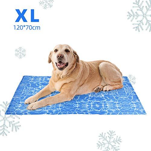 amzdeal Alfombrilla Refrescante Durable para Perros - Cojín para Perros Plegable y No Tóxico, Refrigeración Automática, Ideal para Mantener a Las Mascotas Frescas en Verano, Azul (XL (120 x 70 cm))