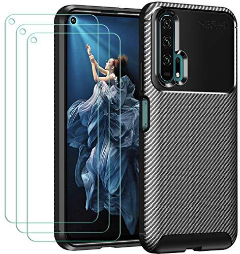 ivoler Coque pour Huawei Honor 20 Pro + 3X Protecteur D'écran en Verre Trempé, Fibre de Carbone Silicone Souple TPU Housse Etui Coque de Protection avec Anti-Choc et Anti-Rayure - Noir