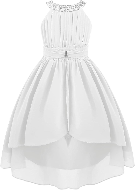 YiZYiF Kids Girl's Halter Rhinestone Chiffon Bridesmaid Dress Children Pleated High Low Maxi Special Occasion Dresses