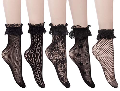 UDENSICA 5 Pack Women's Lace Ruffle Anklet Socks, Floral Black Lace Socks