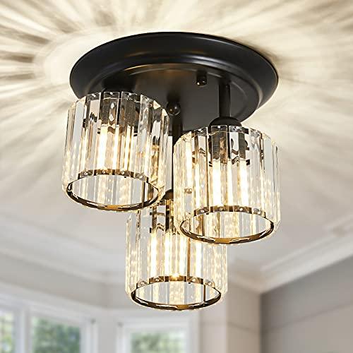CVKASH 3-Light Crystal Chandelier ,Modern Black Semi Flush Mount Ceiling Light,Ceiling Lighting for Living Room Kitchen Dining Room