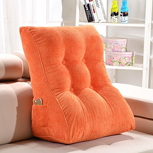 GYWY Cotton Filled Triangular Wedge Pillow Cushion,Corduroy Reading Pillow Sofa Bed Backrest Positioning Support Pillow Wedge Cushion Lumbar Pad,H,453055cm