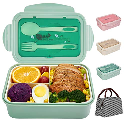 Bento Boxes for Kids and Adults, SHAKNIFE 1400ML Leak-Proof Lunch Container with Lunch Bag, Spoon &...