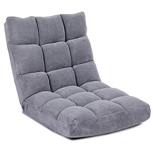 Giantex Floor Folding Gaming Sofa Chair Lounger Folding Adjustable 14-Position Sleeper Bed Couch Recliner (Gray)