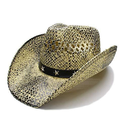 SCSY-Sombrero Nueva Sombrero Gorra Mujer Hombre Verano Sombrero para el Sol Sombrero de Paja Playa de ala Ancha Hollow-out Cowboy Western Cowgirl Sombrero Fedora (Color : 1, tamaño : 56-58CM)