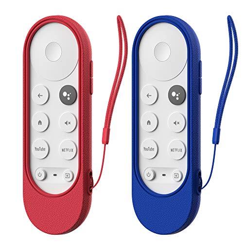 Pacote com 2 capas protetoras de silicone MOSHOU para Chromecast com controle remoto de voz Google TV 2020, capa de bateria remota à prova de choque para controle remoto de voz Chromecast 2020, antiperda com laço (azul + vermelho)