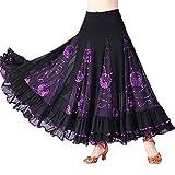 Danza De La Mujer Falda Moderna Práctica Clásico De La Danza De Vals De Medio Cuerpo A La Puesta En Escena Rock Falda De Baile (Color : Violett, One Size : One Size)