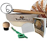 BreadBasics Banneton Proofing Basket | Premium Homemade Bread Starter Kit for Beginners | Includes Step by Step eBook, Bowl Scraper & Whisk, Lame, Brotform Liner, Cleaning Brush | Sourdough Supplies