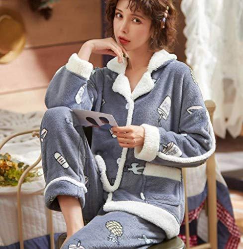 Conjunto De Pijamas Para Mujeres,Invierno Dibujos Animados Impresión Coral Polar Pijama Conjunto Thicken Warm Suave Franela Ropa De Dormir Manga Larga Cárdigan Más Tamaño Suelto Ropa De Hogar Muje