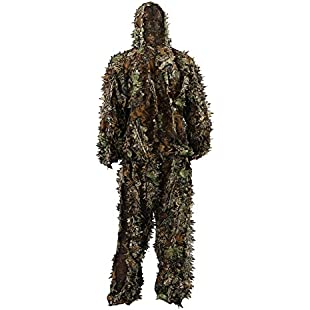Zicac Outdoor Adults Military 3D Leafy Leaves Ghillie Poncho Camo Cape Cloak Camouflage Clothing Jungle Professionals Woodland Stalking Hunting Paintball Airsoft Ghillie Jacket Suit
