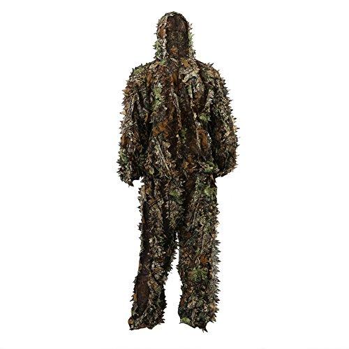 Zicac - Tuta Mimetica, con Foglie 3D, Effetto Camouflage, Abbigliamento per la Caccia, Le esercitazioni di tiro, Taglia Unica