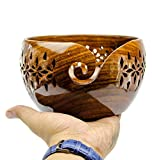 Rosewood Crafted Wooden Yarn Storage Bowl With Carved Holes & Drills | Knitting Crochet Accessories | Nagina International (Large)