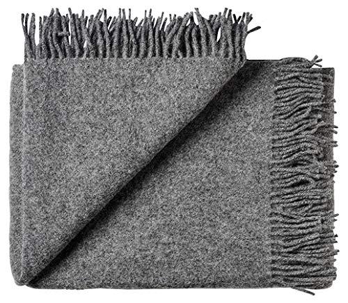 Silkeborg Grau melierte Wolldecke aus 100% neuseeländischer Schurwolle, ca 200x130cm mit Fransen, 850g