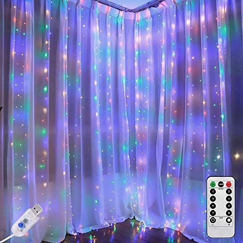 Greenke Multi Colored LED Curtain Lights Curtain String Lights Remote Fairy Lights for Bedroom Timer Colorful Lights for Christmas Party Wedding Indoor Multicolored Lights Wall Decoration