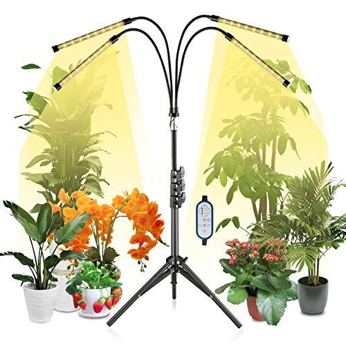 Lovebay Pflanzenlampe LED, Pflanzenlicht mit Stativ, 4 Köpfe Grow Lampe Vollspektrum, Timer 4/8/12H, 3 Modi und 10 Helligkeit für Zimmerpflanzen, Obst, Gemüse, große und hohe Pflanze