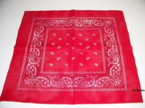 100% cotton Paisley Design Bandana. (Red) by