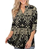 Othyroce Womens Roll Tab Sleeve Tunics tops for women Shirt Black Blouses 1x Plus Top