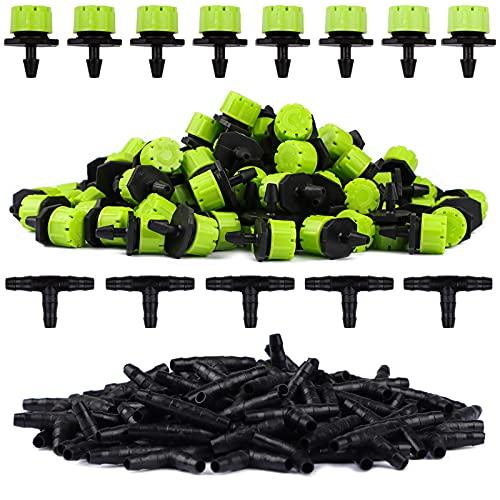 Kaloalry 200 Pcs Kit Riego por Goteo, 100Pcs Verde Cabezas para Riego por Goteo Ajustables + 100pcs tee Conectores para 4/7mm Sistema Manguera Tubo Tuberia de Goteo para Jardín Césped Macetas