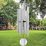 SHMFLFG Outdoor Large Deep Tone mit 6 Metall-gestimmten Röhren Elegantes Glockenspiel Beruhigender, kräftiger Ton für Mama, anständiges Geschenk für Einweihungsparty und Weihnachten (Silber)
