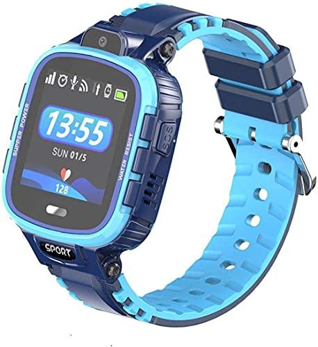 Reloj inteligente para niños inteligente, llamada de emergencia multifunción llamada GPS posicionamiento IP67 impermeable pulsera inteligente puede hacer y recibir llamadas fácilmente - Azul