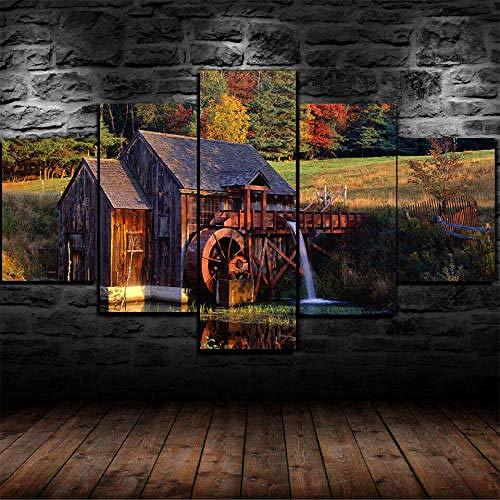 13Tdfc 5 Teilig Leinwand Wanddeko Gerahmte Wassermühle Vermont Forest Cabin Malerei Leinwanddrucke Geschenk 5 Stück Leinwand Bilder Moderne Wandbilder XXL Wohnzimmer Wohnkultur 150X80Cm