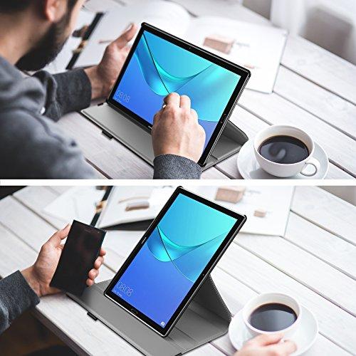 INFILAND Huawei MediaPad M5 10.8 Hülle, Slim PU-Lederne Schutzhülle 360 Degrees Rotating Cover für Huawei MediaPad M5 10.8 Pro/M5 10.8 2018 Modell Tablet PC(mit Auto Schlaf/Wach Funktion),Schwarz - 2