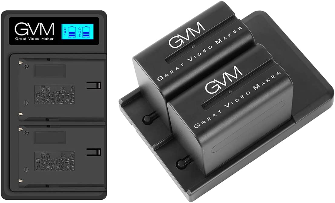GVM NP-F970 6600mAh Batteries with Dual USB Charger and V-Mount