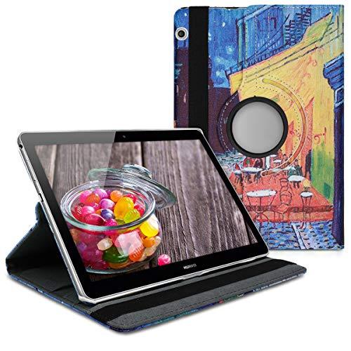 kwmobile Funda Compatible con Huawei MediaPad T3 10 - Carcasa de Cuero sintético para Tablet Van Gogh Azul/Amarillo/Naranja