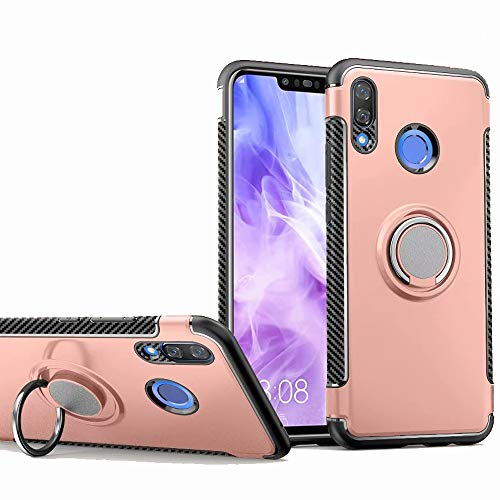 Huawei Nova 3 Case, Ranyi [2 Piece Ring Cover] [Adsorbed Iron Plate] [360 Rotating Metal Ring] Premium Hybrid 360 Full Body Protective 2 in 1 Case for Huawei Nova 3 6.3' (2018), Rose Gold