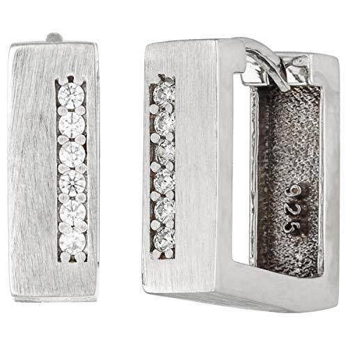 JOBO Damen-Creolen aus 925 Silber matt mit 12 Zirkonia