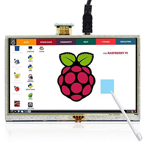 Monitor para Raspberry Pi, ELECROW Pantalla táctil de 5 Pulgadas TFT HDMI Resolución de Pantalla 800 * 480 para Raspberry Pi 4, Raspberry Pi 3/2/1