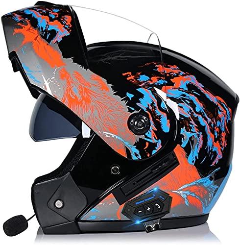 GPFFACAI Casco Integral Moto Mujer Casco Bluetooth para Motocicleta con Tapa Frontal, Casco Integrado con Tapa Modular, Doble Visera, Casco de Motocicleta Completo, rojo617(Color:C;Size:M)